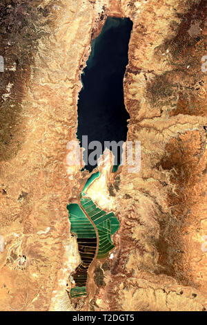 The Dead Sea in the Middle East seen from space - contains modified Copernicus Sentinel Data (2019 - Stock Image