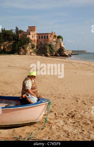 Portugal, Algarve, Ferragudo, Castle, Local People & Beach - Stock Image