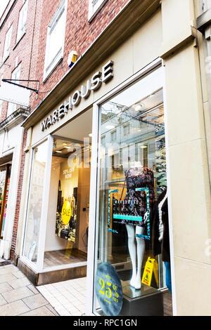 Warehouse ladies fashion shop, Warehouse ladies fashion store, Warehouse sign, Warehouse shop, Warehouse high street store, ladies fashion stores, UK - Stock Image