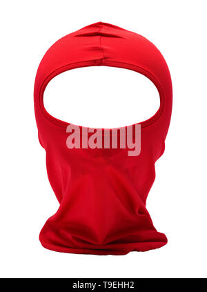 Red Ninja Mask Isolated on White Background. - Stock Image