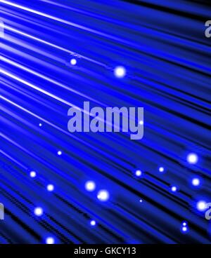 stars are falling on the background of blue rays. - Stock Image