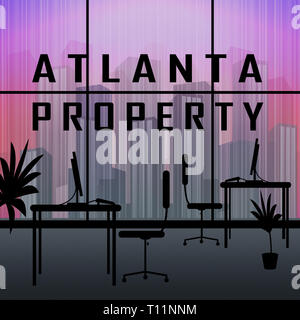 Atlanta Property Apartment Shows Real Estate Residential Buying. Home Ownership In The United States 3d Illustration - Stock Image