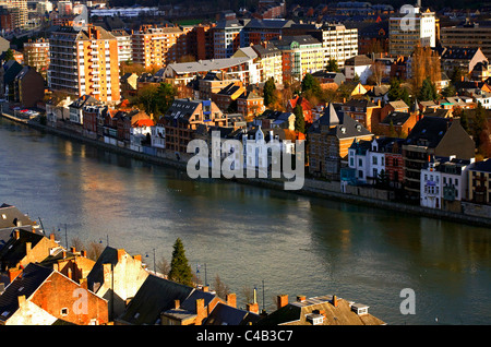 Belgium, Namur; River crossing residences as seen from the citadel - Stock Image