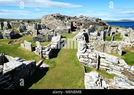 Broch of Gurness Iron Age broch and village archaeological site. West up main approach to broch entrance. Eynhallow - Stock Image