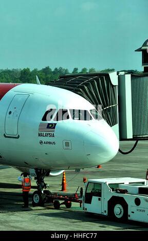 Airbus airplane of Air Asia  Yangon International airport Myanmar - Stock Image