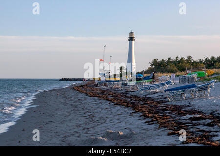 Kayak, sailboat and chair rentals and lighthouse in the Bill Baggs Cape Florida State Park on Key Biscayne, Miami, - Stock Image