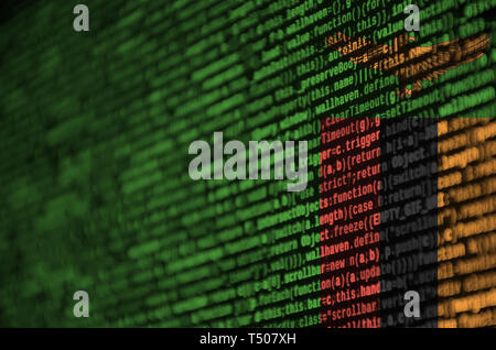 Zambia flag  is depicted on the screen with the program code. The concept of modern technology and site development. - Stock Image