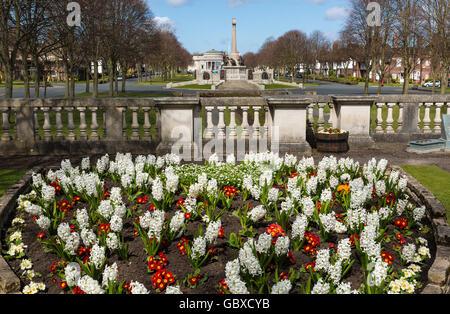 Hillsborough Memorial Garden and War Memorial, Port Sunlight, Wirral, England - Stock Image