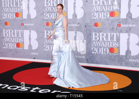 The Brit Awards 2019 held at the O2 - Arrivals  Featuring: Jess Glynne Where: London, United Kingdom When: 20 Feb 2019 Credit: Lia Toby/WENN.com - Stock Image