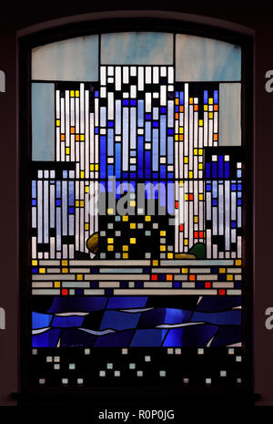 'Pentecost III', South aisle window by Brian Clarke. Christ Church, Thornton-le-Fylde, Lancashire, England, United Kingdom, Europe. - Stock Image