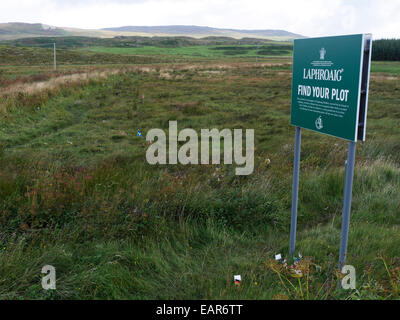 Friends of Laphroaig plots marked with national flags on Islay Scotland - Stock Image