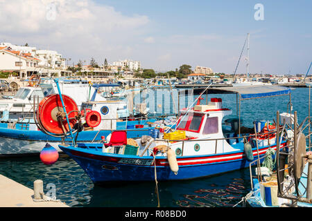 Boats in Zygi harbour, Cyprus October 2018 - Stock Image