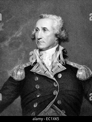 George Washington (1731-1799) on engraving from 1834. First President of the USA during 1789-1797. - Stock Image