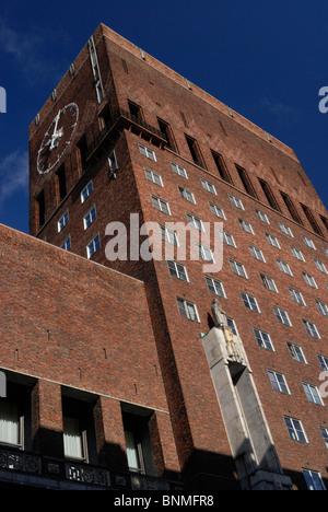 Clock tower, Rådhuset ,Oslo. - Stock Image