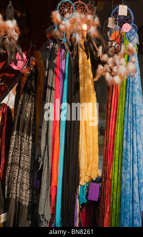 Native American 'Dream catchers' and Shawls for sale at a stall at the Tollwood festival in Munich - Stock Image