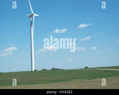 Low Angle View Of Windmill On Field Against Sky - Stock Image