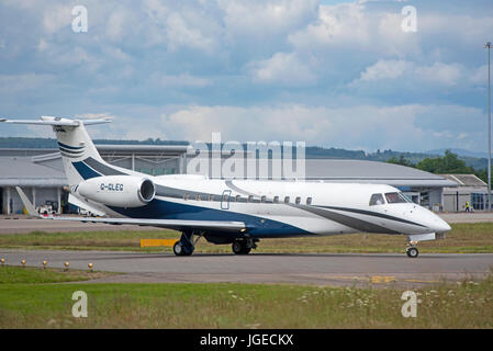 Ember ERJ 135 Legacy 600 Aircraft at Dalcross airport Inverness in the Scottish Highlands UK - Stock Image