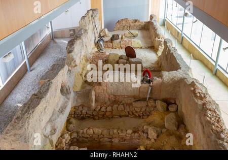 Catagena, Spain - September 14th, 2018: Punic Wall Interpretation Center. Walls remains display. Upper floor view - Stock Image