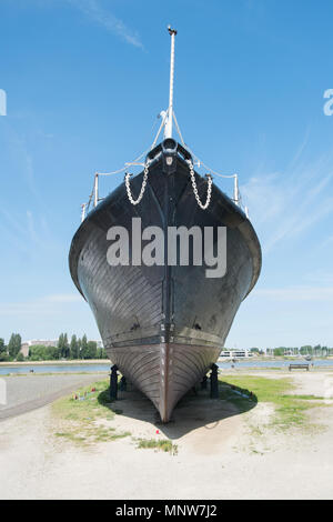 Wooden ship at US Army Monument Antwerp, Belgium - Stock Image