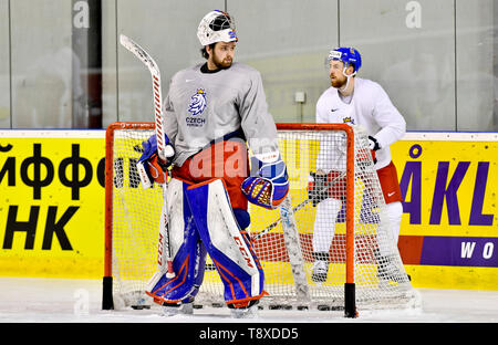 Bratislava, Slovakia. 15th May, 2019. Czech players L-R Patrik Bartosak and Filip Hronek attend a training session of the Czech national team within the 2019 IIHF World Championship in Bratislava, Slovakia, on May 15, 2019, one day prior to the match against Latvia. Credit: Vit Simanek/CTK Photo/Alamy Live News - Stock Image