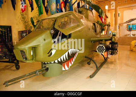 USA, Indiana, Indianapolis, Indiana War Memorial, helicopter from Vietnam War - Stock Image