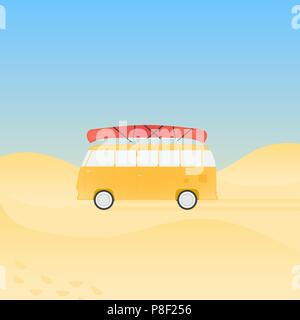 Bus for travel with canoe on the beach, vector illustration - Stock Image