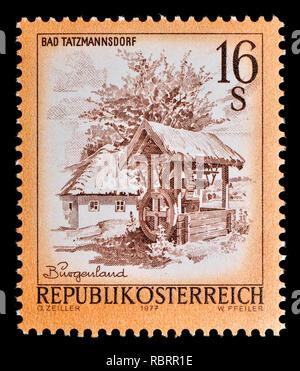 Austrian definitive postage stamp (1977) : Bad Tatzmannsdorf, Burgenland - Stock Image