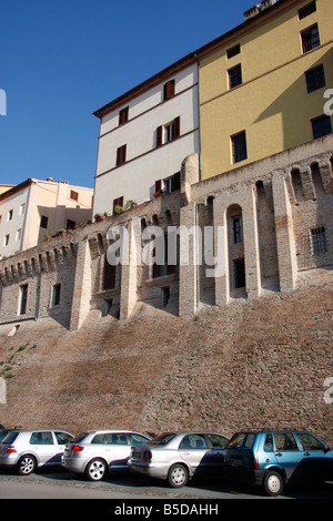 car parking at the 14th century historic walls of the beautiful hilltown of Jesi in Le Marche, Italy  built on Roman - Stock Image