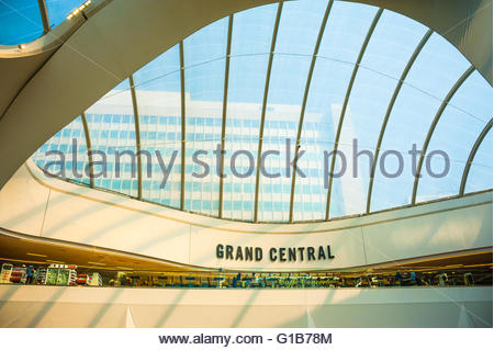 Birmingham New Street Station, the modernised railway station in the Midlands now houses a Grand Central shopping - Stock Image