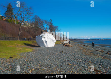 The iconic 'white rock' on the beach at White Rock, British Columbia, Canada. - Stock Image