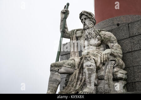 Close up detail of the Neptune statue, a landmark in St Petersburg, Russia. - Stock Image
