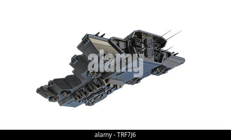 Spaceship flying, alien UFO spacecraft in flight isolated on white background, bottom view, 3D rendering - Stock Image