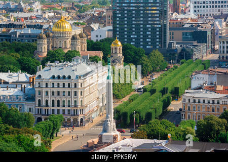 Riga city, aerial view of the center of Riga showing the Freedom Monument, the Greek Orthodox cathedral, and the tree-lined Esplanade, Latvia. - Stock Image