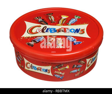 A red plastic box of Celebrations sweets - Stock Image