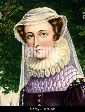 Mary, Queen of Scots (1542-1587), portrait print (detail), c. 1890 - Stock Image