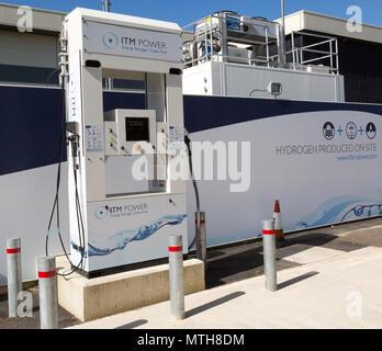 ITM Power energy storage clean fuel hydrogen fuel service station, Johnson Matthey, Swindon, Wiltshire, England, UK - Stock Image