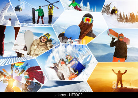 Photo winter sports collage ski snowboarding - Stock Image
