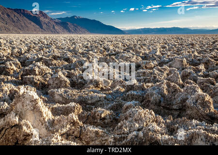 Salt pinnacles on The Devil's Golf Course, Death Valley National Park, California USA - Stock Image