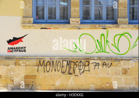 Anarchy in Cyprus sign in Nicosia, Cyprus, Greece. - Stock Image