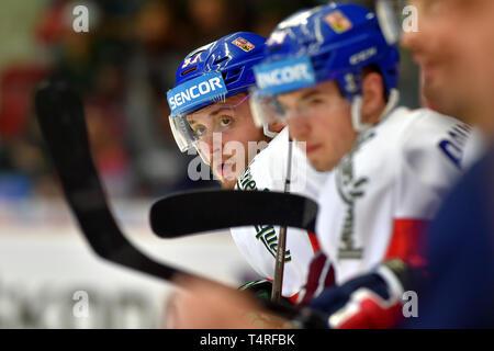 Radim Zohorna of Czech Republic, left, is seen during the Euro Hockey Challenge match Czech Republic vs Germany in Karlovy Vary, Czech Republic, April 18, 2019. (CTK Photo/Slavomir Kubes) - Stock Image