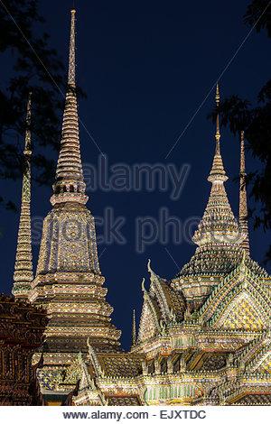 Wat Pho also called Wat Phra Chettuphon - Temple of the Reclining Buddha at night  - Bangkok - Thailand - Stock Image