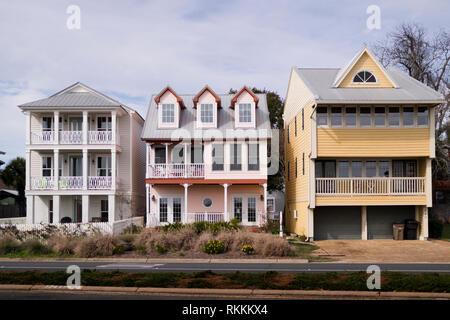 Houses on Bayfront street in Pensacola, Florida - Stock Image