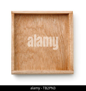 Top view of empty wooden tray isolated on white - Stock Image