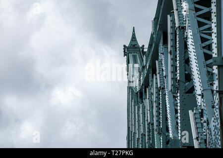 Detail of Pont Jacques Cartier bridge taken in Longueuil in the direction of Montreal, in Quebec, Canada, during a cloudy afternoon on the Saint Lawre - Stock Image