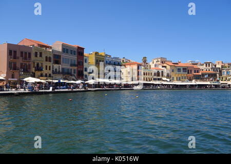 Harbour and waterfront in the Cretan port of Chania - Stock Image