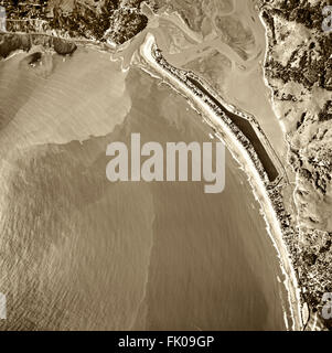 historical aerial photograph of Stinson Beach, Bolinas and the Bolinas Bay and Bolinas Lagoon, Marin County, California, - Stock Image
