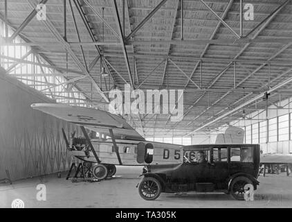A Dornier Komet III of the German Aero Lloyd (tail number D-546, christening name 'Hyena') in a hangar at Berlin-Tempelhof Airport. - Stock Image
