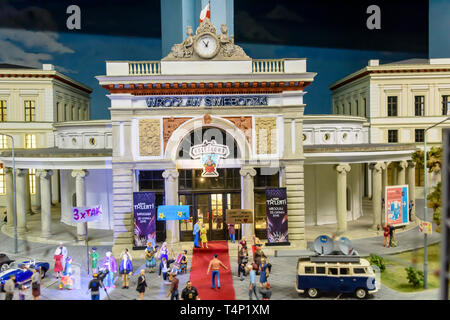 Miniature model of a red carpet event in the old train station, at Kolejkowo, Wrocław, Wroclaw, Wroklaw, Poland - Stock Image