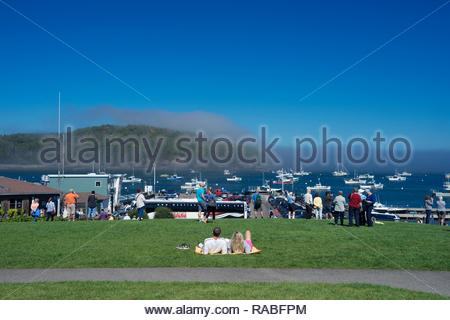 Couple relaxing on the lawn of Agamont Park, Bar Harbor, Maine, USA. - Stock Image