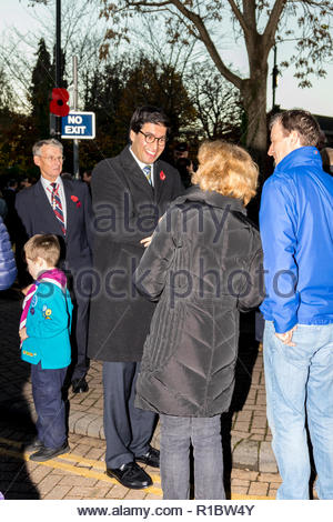 Fleet, Hampshire, UK. 11th November 2018. Ranil Jayawardena MP for North East Hampshire talks with constituents following the  Armistice Day Act of Remembrance. Credit: Images by Russell/Alamy Live News - Stock Image